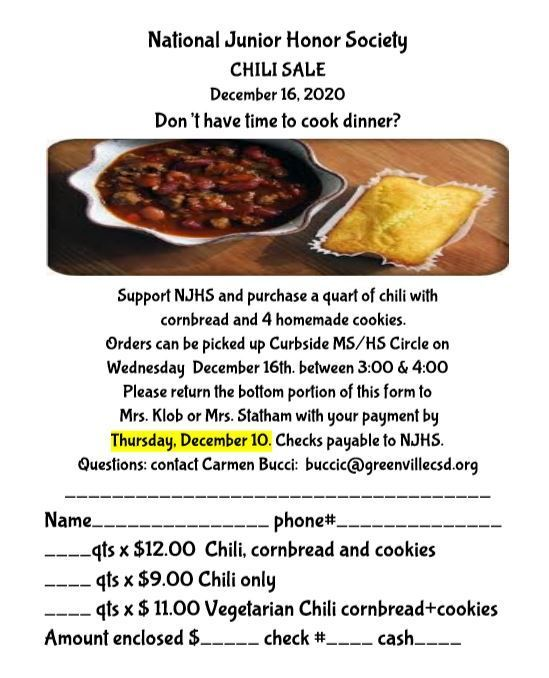 National Junior Honor Society - Chili Sale