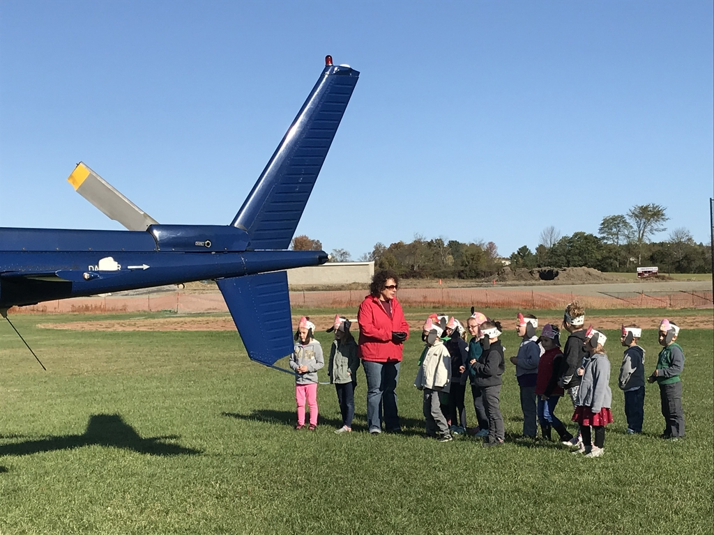 Kindergartners visit the helicopter