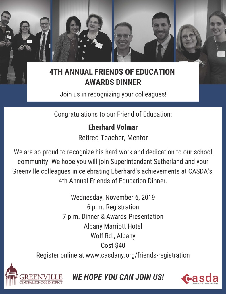 Flyer for the CASDA Friends of Education Award Dinner