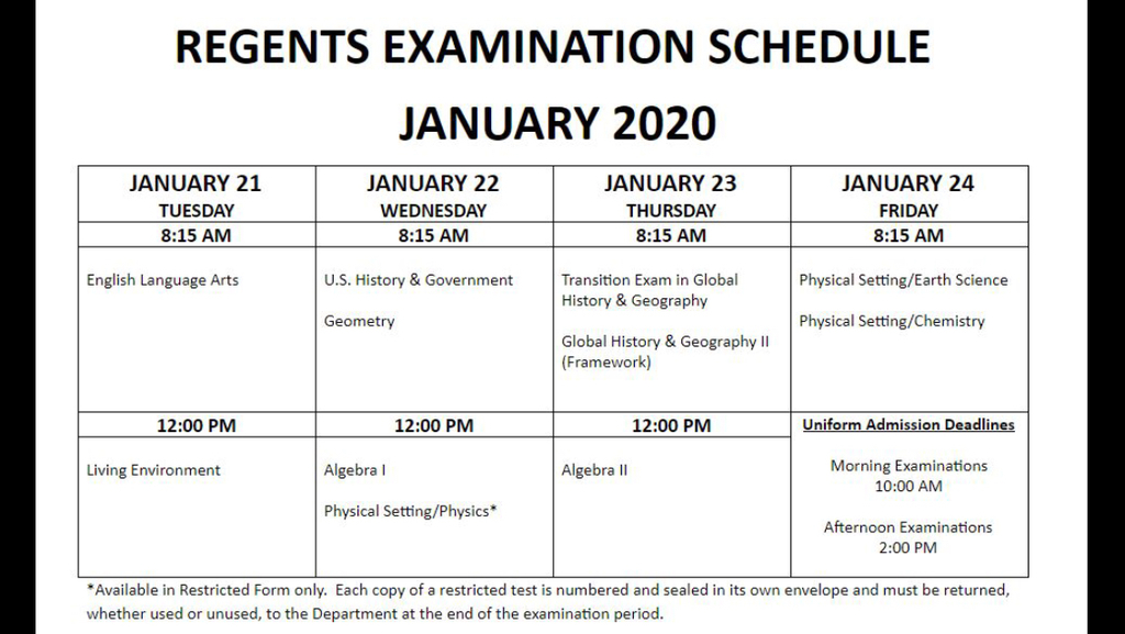 January 2020 Regents Schedule